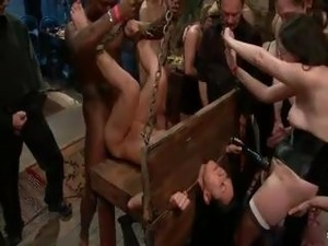blindfold pierced pussy gangbang
