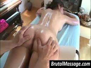 Sexy chick gets body massaged free