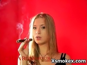 young girls smoking cigar