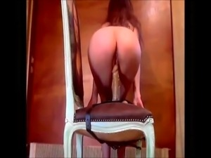 Horny Cam Girl Rides Dildo Strap-on On Chair free