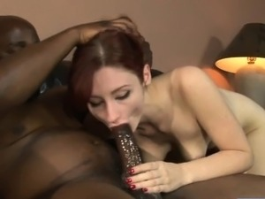 Redhead Violet Monroe destroyed by massive black cock