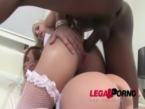 Blue Angel & Blanche Bradburry in interracial anal threesome free