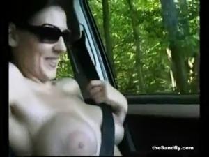 Huge boobs in public