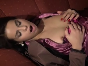 Little brunette slut suck a fat cock and gets fucked hard