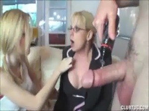 Teen and mature double team handjob free