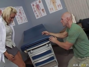Arousing young looking blonde nympho doctor Brandy Blair with delicious