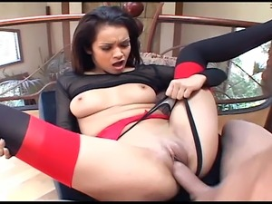 Brunette fucking in stiletto heels thigh high stockings and panties