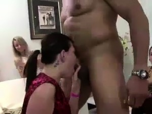 Interracial blowjobs by amateur CFNM party babes