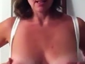 Wife flashes tits on webcam for hubby