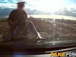 Busty slut Chantelle fucks the horny cop in the open field