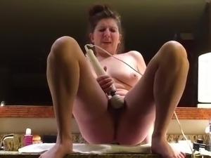 blonde flashing on webcam in bathroom