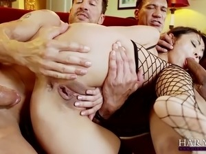 Well shaped Asian MILF in slutty sex suit gets double penetrated by white...