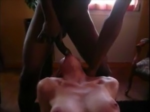 Amateur black cock very deep in a white girls throat