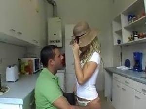 blonde mmf sex in kitchen