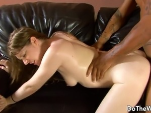 White girl lets a black guy fuck her while her husband watch